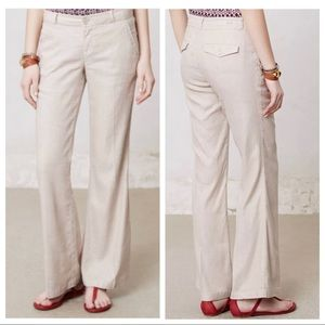 Anthropologie 27 Linen Wide Leg Pants Trousers